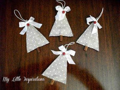 Decorazioni di Natale senza cuciture: Alberi di tessuto e cannella - 4 alberi piccolo - MLI