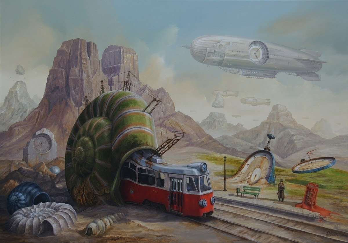 10-Tram-Depot-Jarosław-Jaśnikowski-Paintings-of-Flying-Machines-and-Architectural-Surrealism-www-designstack-co