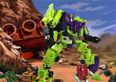 combiner wars titan devastator vs transformers powerglide and the minibots