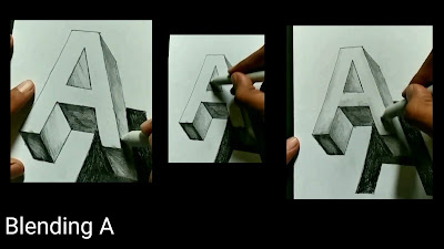 How to draw A, easy to draw 3d letters, learn to draw 3d letters, step by step tutorial for to draw A