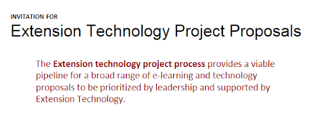 The Extension technology project process provides a viable pipeline for a broad range of elearning and technology proposals to be prioritized by leadership and supported by Extension Technology