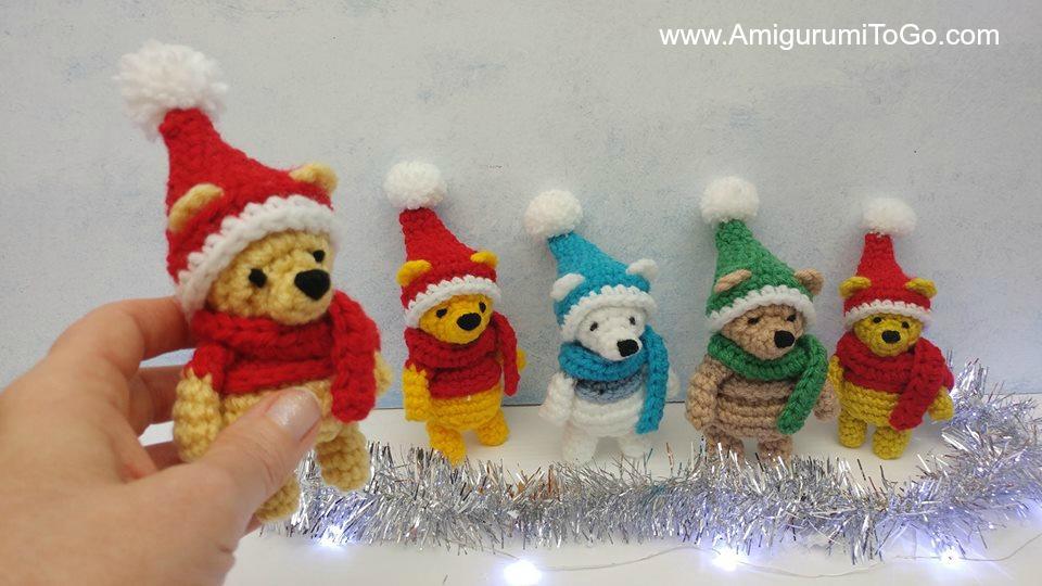 Miniature Christmas Hat And Magical Scarf For Hunny Bear Amigurumi