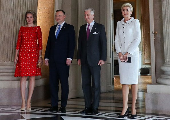 Queen Mathilde wore Natan lace dress from spring summer 2018 collection. First Lady Agata Kornhauser-Duda