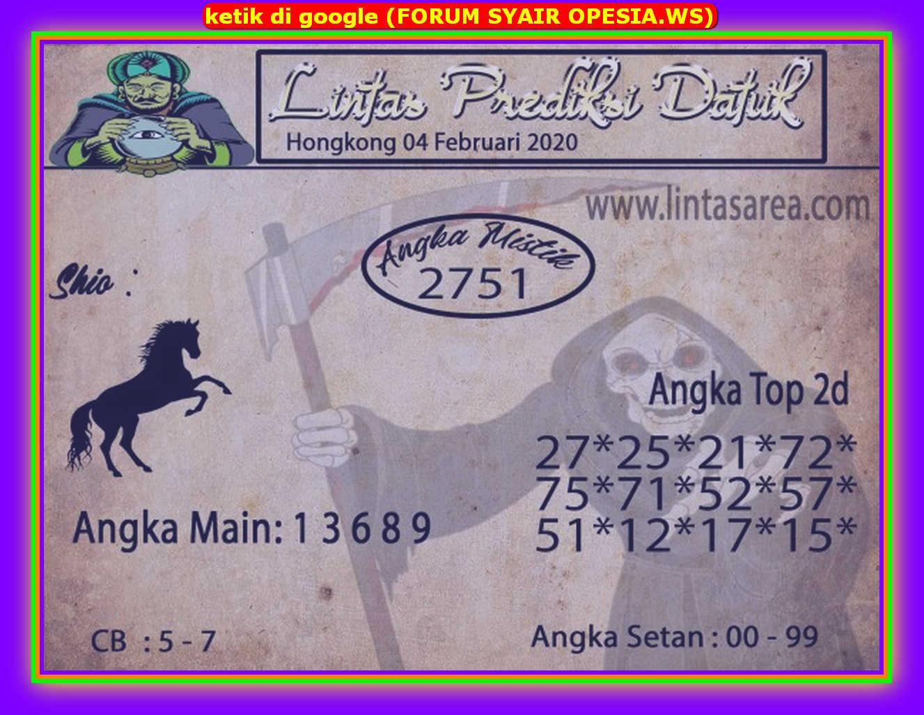 Kode syair Hongkong Selasa 4 Februari 2020 125