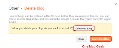 How to Delete/Restore a blogger blog
