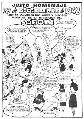 Página de Pulgarcito extraordinario dedicado al sifón, 1948, por  Cifré