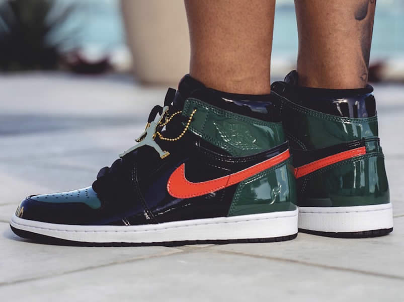 873121042ff963 Solefly Miami Art Basel x Air jordan 1 Green Patent Leather  Friends    Family  On Feet AV3905-038 - www.anpkick.com