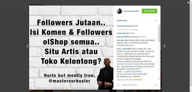 Follower Jutaan, Isi Komen dan Followers OL Shop Semua...Situ Artis Apa Toko Kelontong