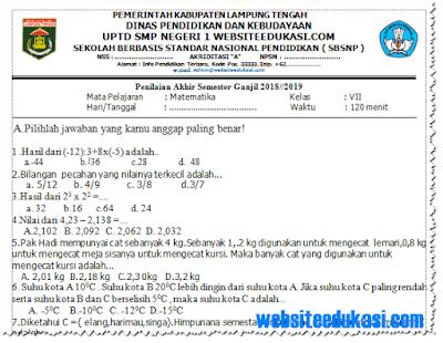 Soal PAS/ UAS Matematika Kelas 7 K13 Tahun 2018/2019