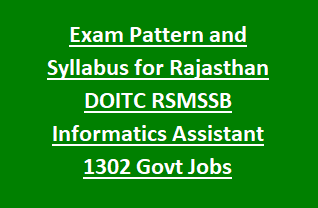 Exam Pattern and Syllabus for Rajasthan DOITC RSMSSB Informatics Assistant 1302 Govt Jobs Recruitment Notification 2018