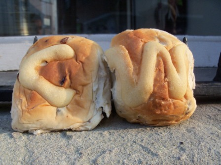 A pair of rejoicing buns we caught at the bun throwing held to celebrate the Royal Wedding of Prince William and Catherine Middleton in 2011