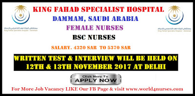 URGENT VACANCY FOR BSC NURSES TO DAMAMM SAUDI ARABIA