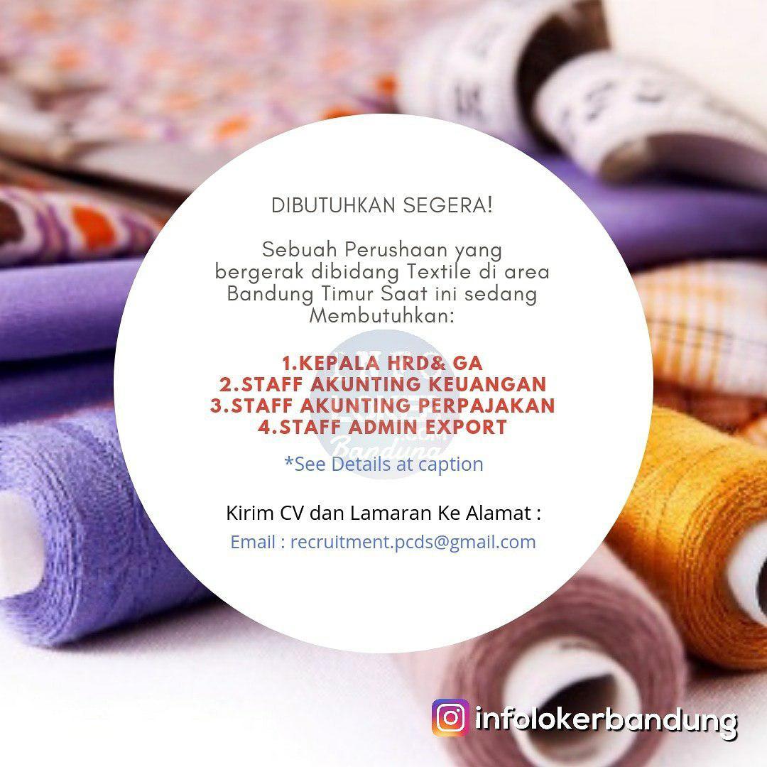 Lowongan Kerja Perusahaan Textile Terkemuka di Kota Bandung Desember 2018