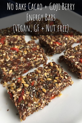 No Bake Cacao + Goji Berry Energy Bars (Vegan, Gluten Free + Nut Free)