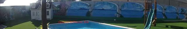 graffiti en terraza con playa , puente y paisaje de fantasía