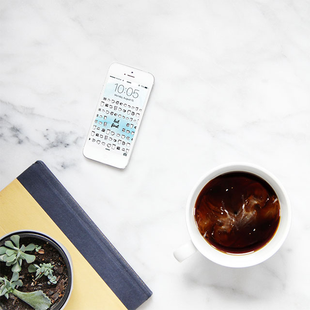 "Download this iPhone background. ""Okay, but first - coffee."""