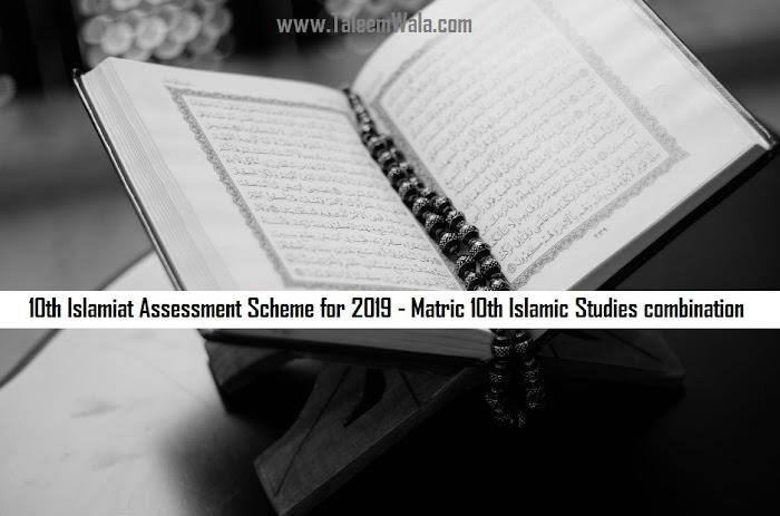 10th Islamiat Assessment Scheme for 2020 - Matric 10th Islamic Studies combination