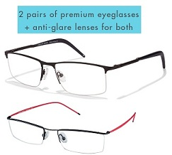 Loot Offer: Buy 2 Vincent Chase Premium Eyeglasses with KLAR Anti Glare Lens Glasses for Rs.1374 only @ Lenskart