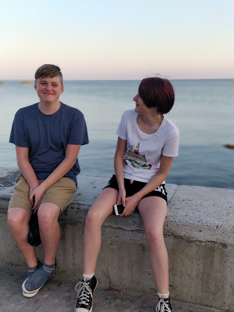 teens on seafront, Cyprus