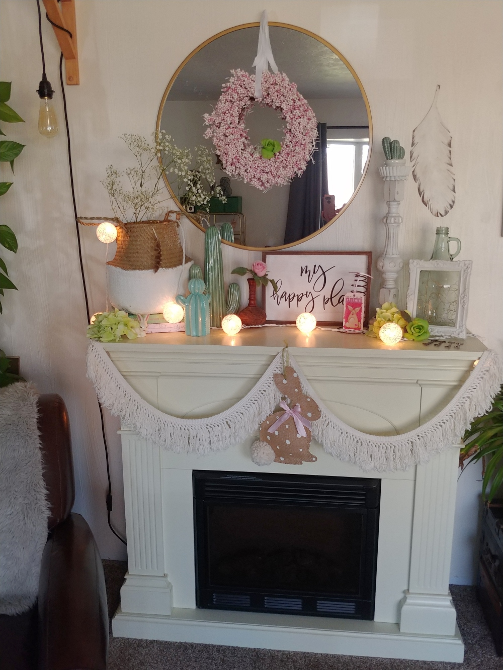 fireplace mantel spring decor