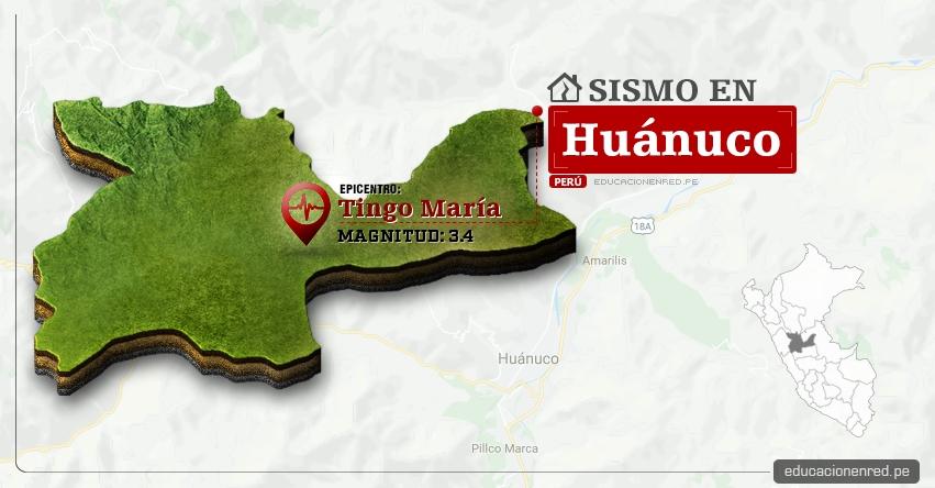 Temblor en Huánuco de 3.4 Grados (Hoy Domingo 5 Febrero 2017) Sismo EPICENTRO Tingo María - Aucayacu - José Crespo y Castillo - Leoncio Prado - IGP - www.igp.gob.pe