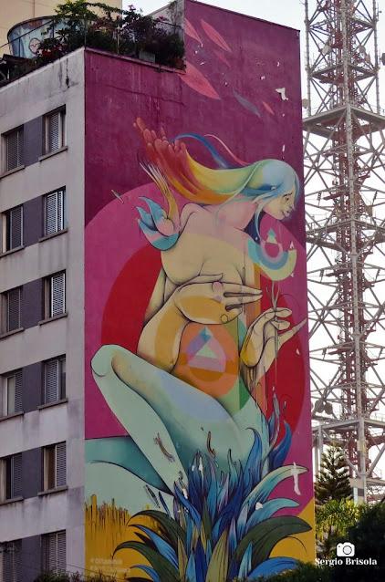 Vista ampla do Mural Lembranças de uma Doce Primavera - Consolação - São Paulo