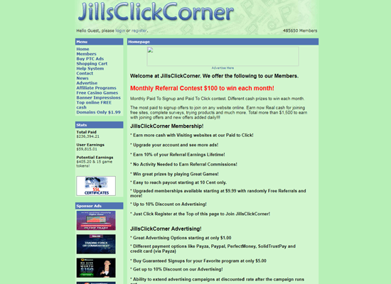JillsClickCorner PTC Paid To Click