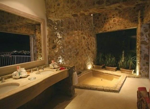 Ba os con paredes de piedra colores en casa - Piedras pared interior ...