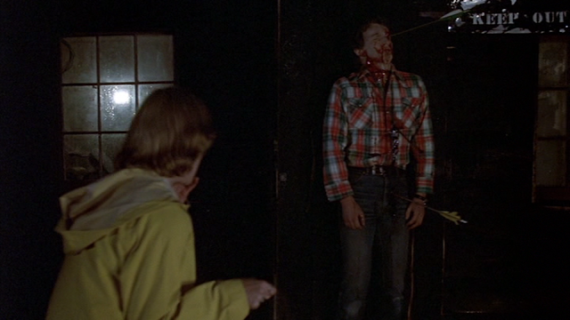Alice (Adrienne King) finds Bill's (Harry Crosby) corpse in FRIDAY THE 13TH (1980)