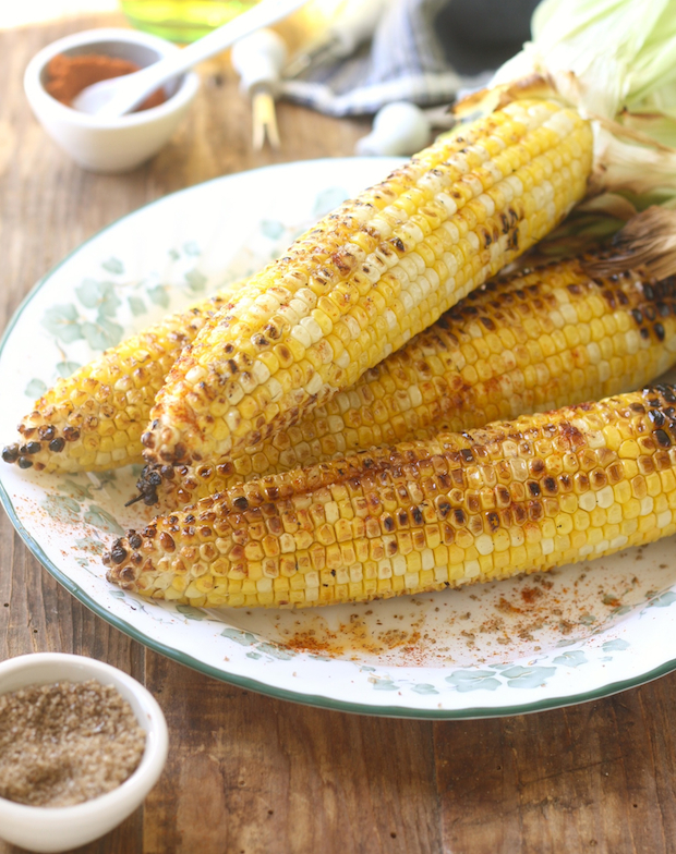 Grilled corn with sichuan pepper salt & smoked serrano pepper by SeasonWithSpice.com