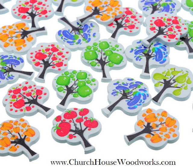 Fruit Tree Wood Buttons by Church House Woodworks
