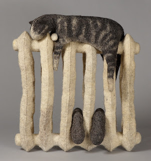 felted cat, felted animals