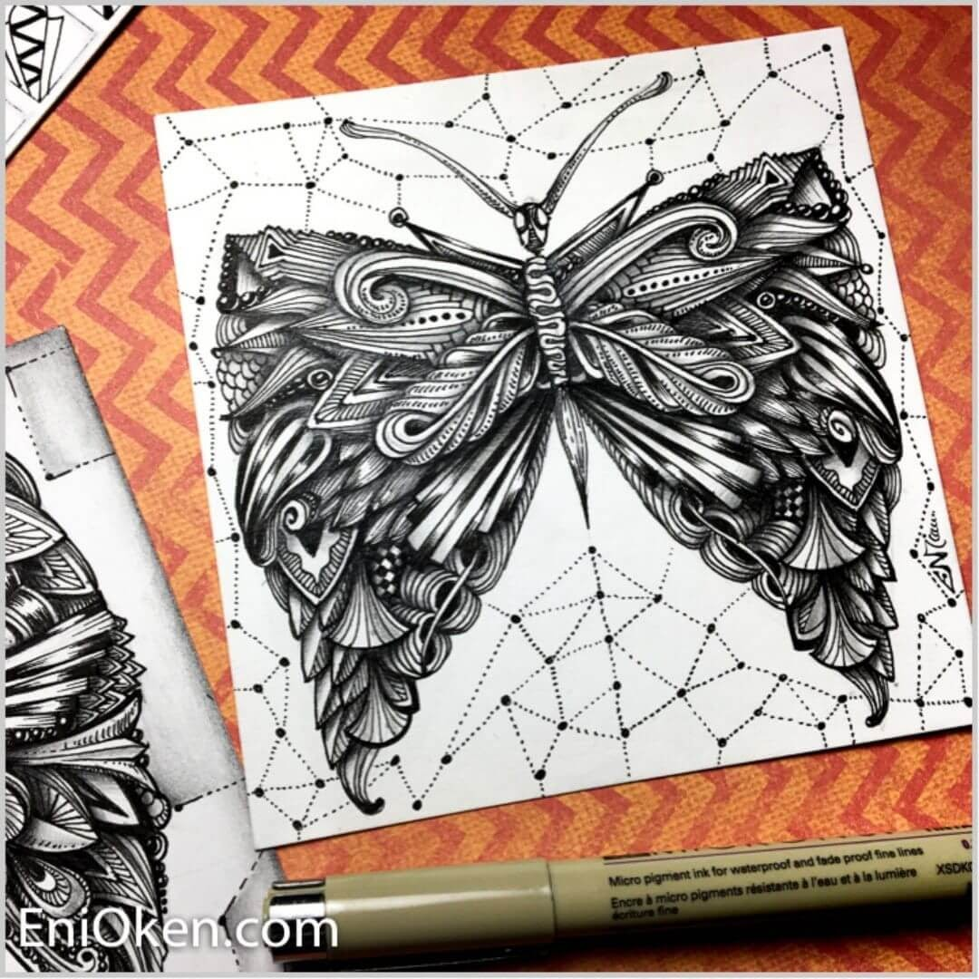 09-Engraved-Butterflies-Eni-Oken-Ink-and-Pencil-Fantasy-and-Zentangle-Drawings-www-designstack-co