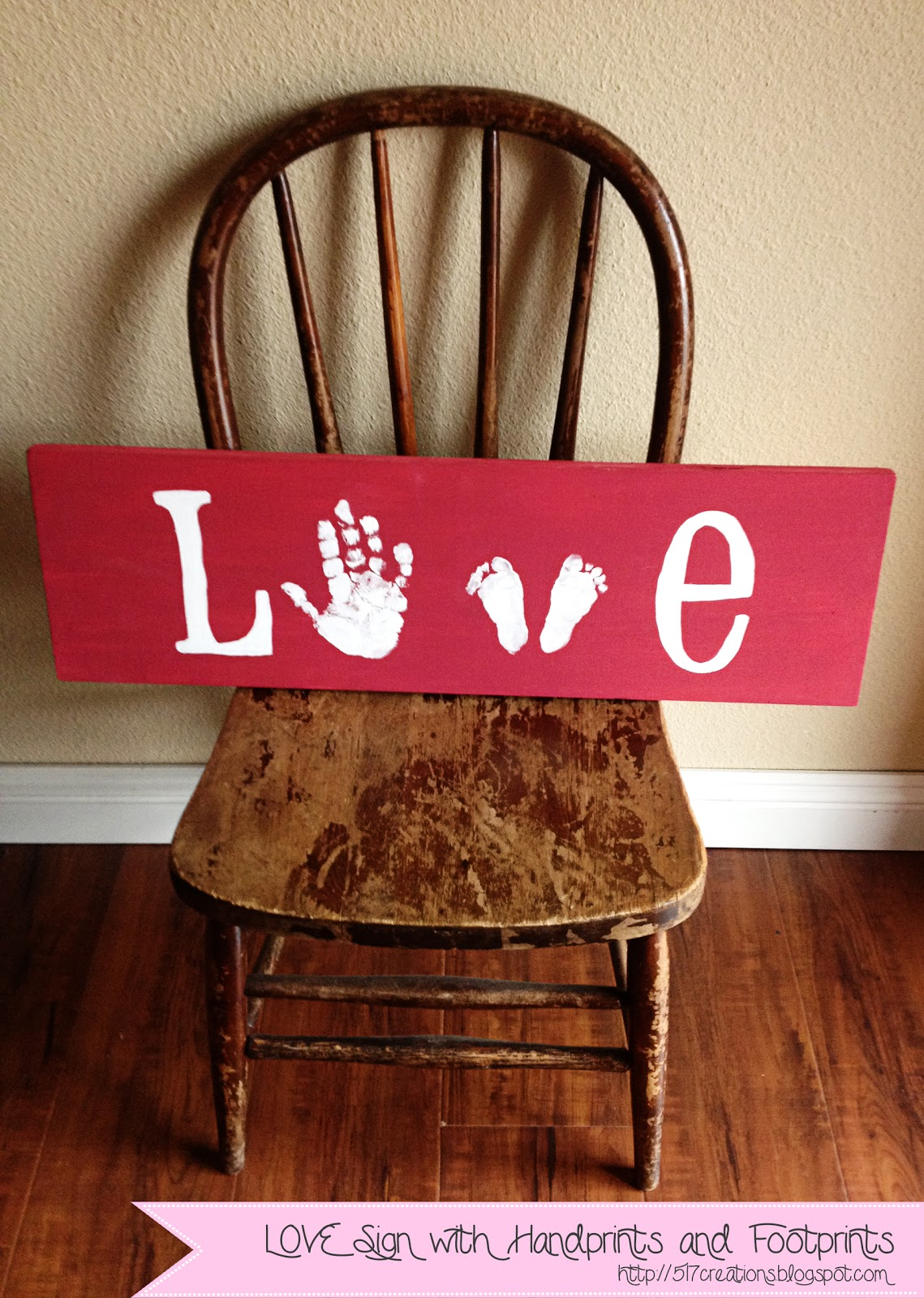 517 creations diy love hand and footprints for Love sign