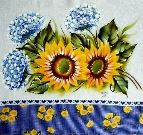 pintura em tecido girassol e hortênsia