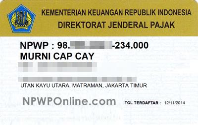 Contoh Kartu NPWP Pribadi
