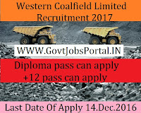 Western Coalfields Limited Recruitment 2016-2017