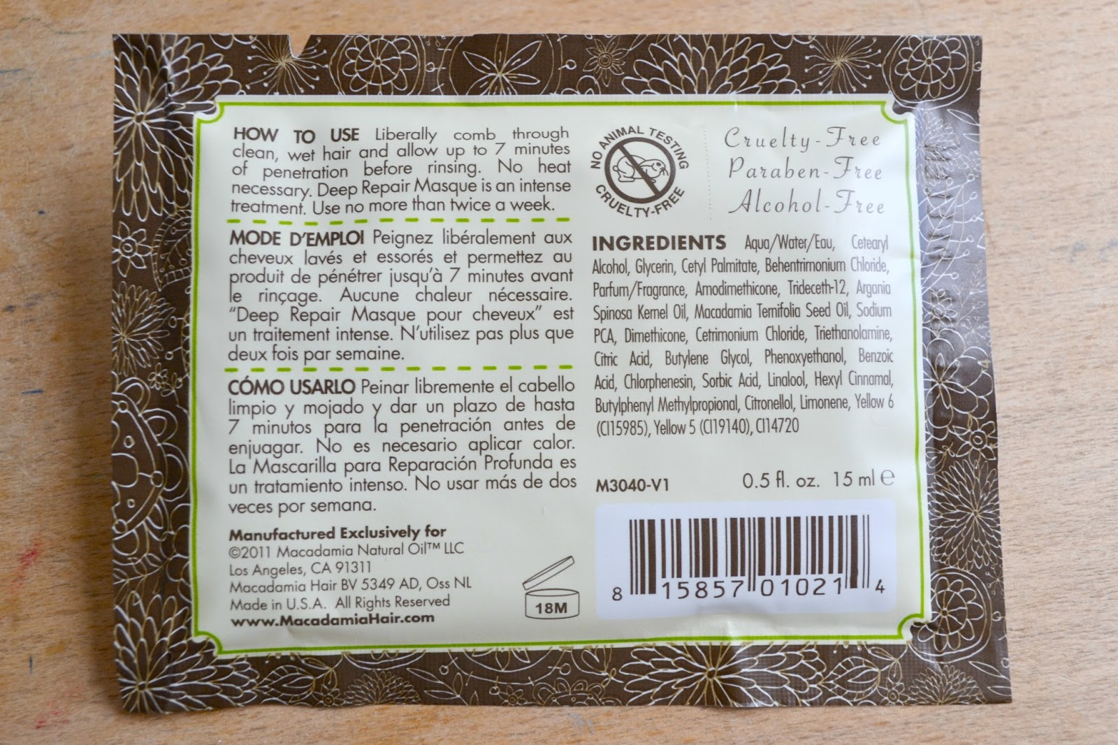 Sample Review: Macadamia Natural Oil Deep Repair Masque!