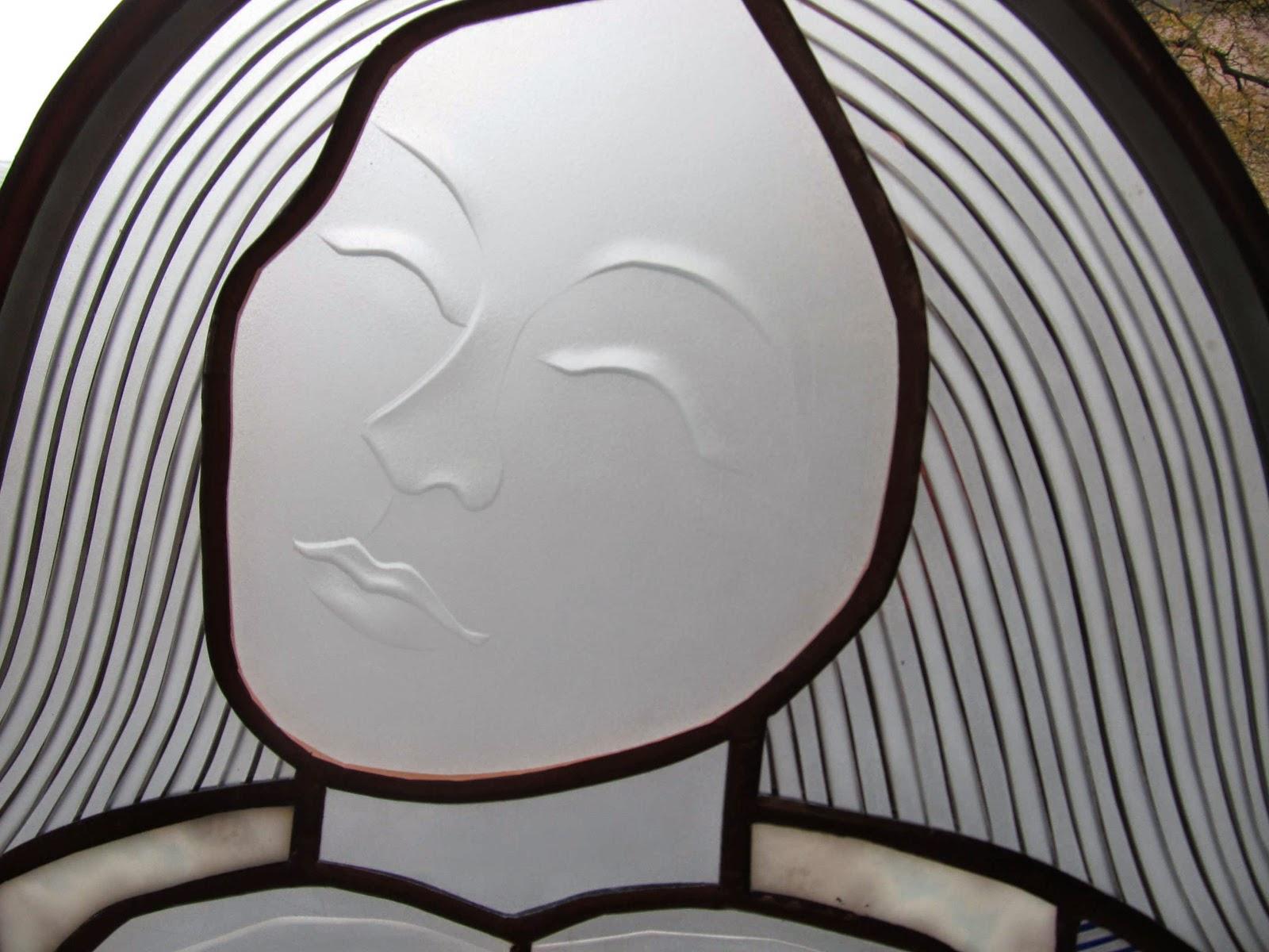 anděl  vitrážové zrcadlo