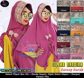 Jilbab renda di kepala terbaru model syria bahan jersey jeruk