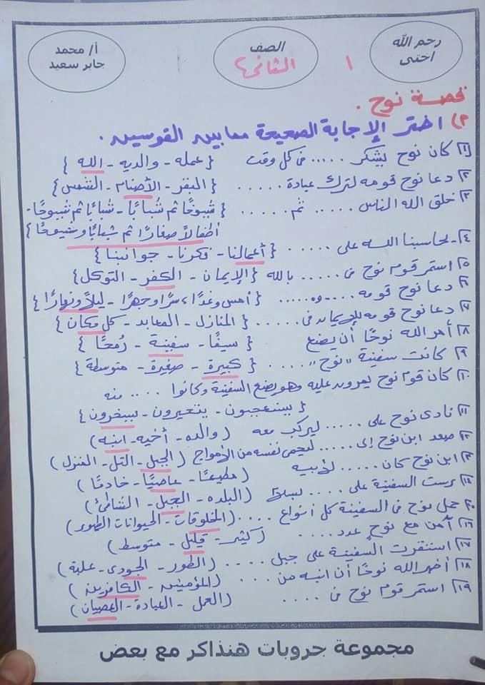 مراجعة التربية الدينية للصف الثاني الابتدائي ترم ثاني أ. محمد جابر 6