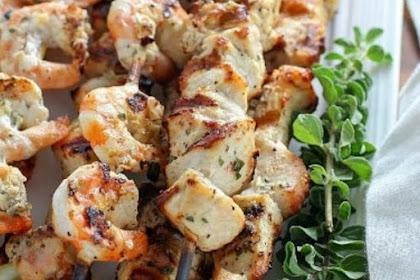 Grilled Lemon Oregano Chicken & Shrimp Skewers