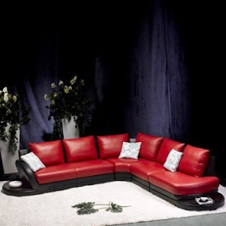 Sofa Sectional By TOSH Furniture (Red/Black Top Grain Leather)