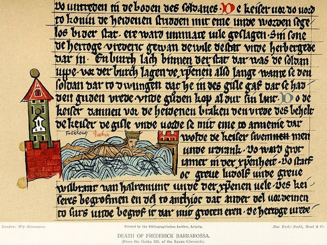 Ilustrasi yang menggambarkan tenggelamnya Barbarossa.