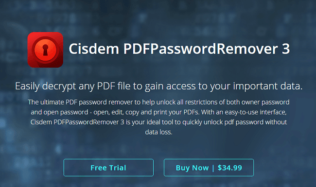 but it has some of its consequences as well Cisdem PDFPasswordRemover 3: Easiest Way to Decrypt Any PDF File