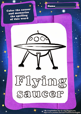flying saucer coloring page for teaching English