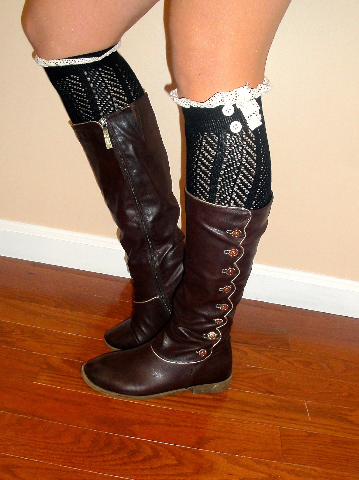 boot socks, lace boot socks, button up boots, brown button up boots,