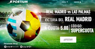 sportium supercuota 5 gana Real Madrid a Las Palmas 5 noviembre