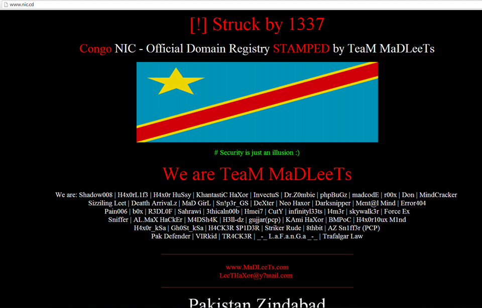 Congo NIC and Official Domain Registry hacked by Leet - Cyber Kendra