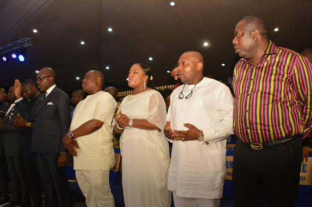 These are picture River State governor, Gov. Ezenow Nyesom Wike, his wife, Justice Eberechi and some of his cabinet members in attendant in Five Nights of Glory at Salvation Ministries on Monday night.